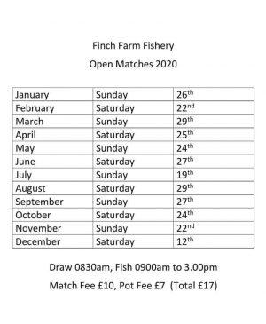 Finch Farm Fishery Open Dates 2020